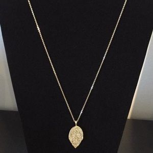 Gold leaf necklace with crystals